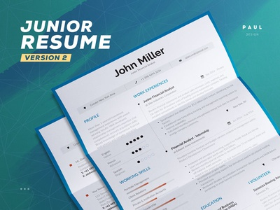 Junior Resume/Cv Template professional creative us letter a4 cover letter template inspiration lebenslauf curriculum vitae resume cv