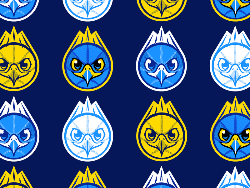 Halcones pt II brand logo identity mark children youth team school sports branding blue yellow bird ball mexico falcon peregrine hawk basketball