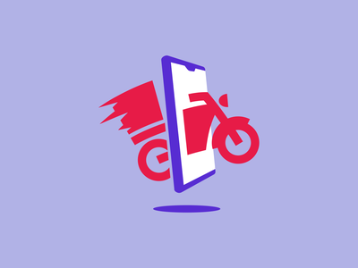 Primexpress delivery logo modern design mark icon mexico blue red phone service call delivery motorcycle motorbike branding brand logo