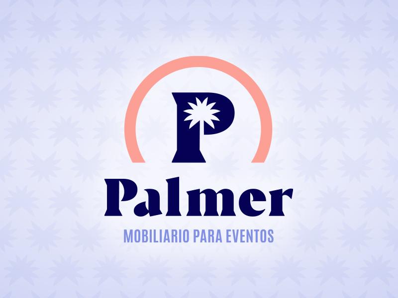 Palmer p monogram rent event furnishing furniture serif table chair natural tree palm navy salmon pink blue palmer rentals brand logo