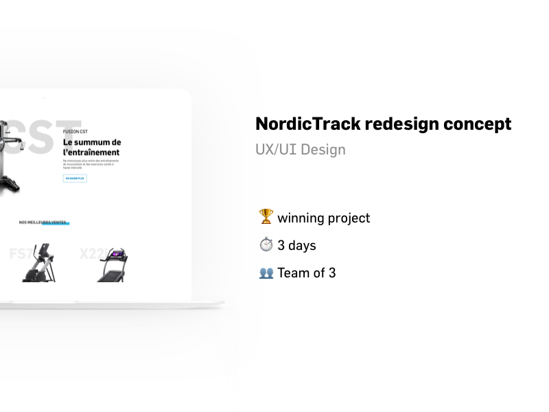 Redesign concept of NordicTrack.fr (case study) redesign concept case study uxui design fitness nordictrack