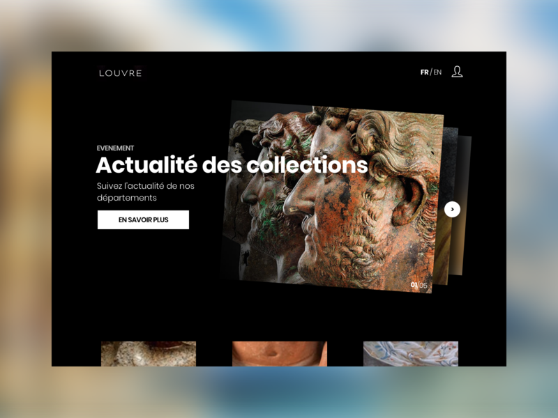 Musée du Louvre - Home concept museum musée musée du louvre home alone landing page homepage home website webdesign animation re-design art director ux refonte le louvre louvre redesign ui