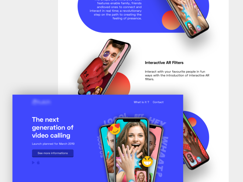 Landing page - App of video calling app presentation app concept app landing page contest logo project ux redesign design concept ui