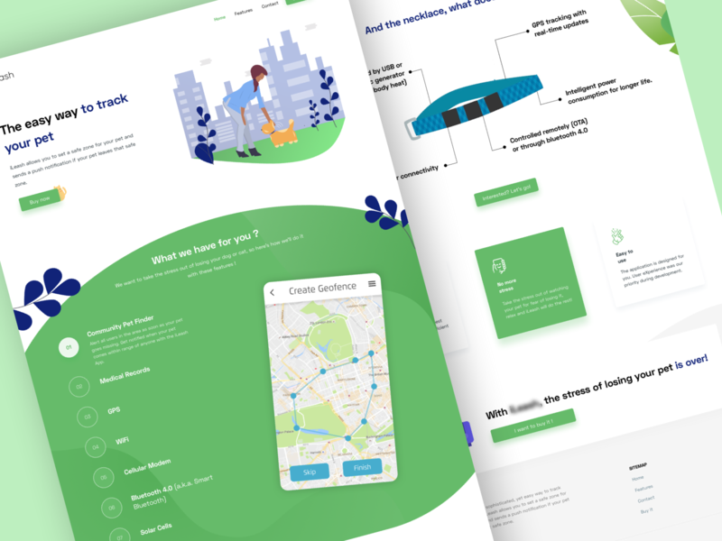 Landing page - App for pet tracking illustration pet pet tracker pet tracking ui concept design redesign ux project logo contest landing page app app concept app presentation