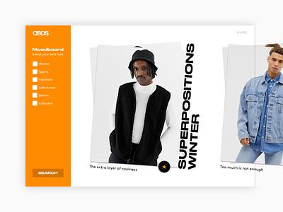 ASOS - Moodboard moodboard asos branding landing page ux project design redesign concept ui