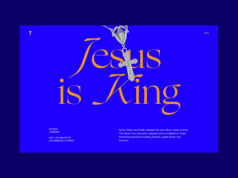 Jesus is King homepage landing typography music landing page branding project ui art direction design concept west kanye is king jesus