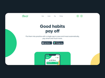 Oval Website motion design product landing interaction scroll ux ui app interface motion pay invest save banking finance presentation website animation