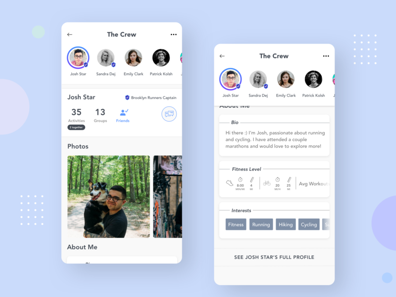 Profile - Social Fitness Mobile Concept uiux ui mobile design user experience design mobile application mobile apps android ios mobile uidesign sketch profile screen mobile interface design interface mobile uiux mobile app mobile ui profile design profile page profile card