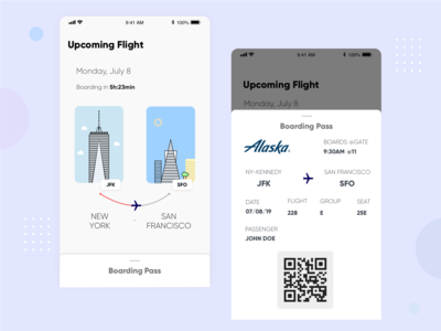 Mobile Boarding Pass & illustrations