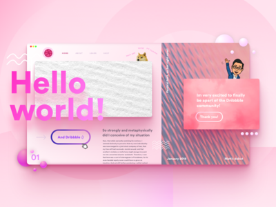 Dribbble Debut dropshadow doge weird design concept web debut