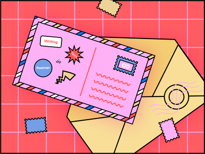 Writing Tests in Postman postcard vector illustration illustration colors