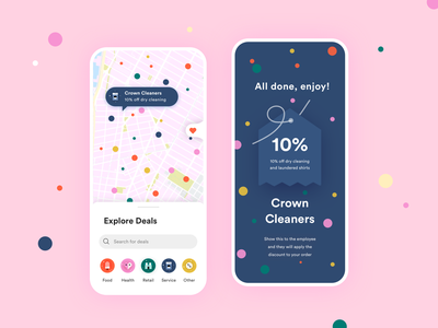 Village Access discover tag categories explore loyalty program loyalty card loyalty dots user interface color ux ui design