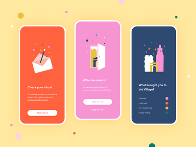 Village Access - Login ui  ux uidesign ui colorful colors illustration user interface loyalty program loyalty card loyalty dots explore discover design color