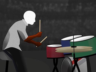 'The Drummer' Vector Illustration adobe photoshop rock drummer music rebound vector design affinity designer
