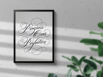 Progress Over Perfection - Calligraphy Art Print artist home and living wall mural lettering artist design handlettering calligraphy wall design typography calligraphy design calligraphy art script design progress over perfection artwork art home decoration wall decor art print wall art home decor