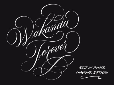 Wakanda Forever, RIP Chadwick Boseman marvel riplegends rest in peace calligraphy flourishing flourishing brush calligraphy lettering art lettering artist design lettering handlettering typography calligraphy script lettering rip chadwick black panther wakanda forever rest in power chadwick boseman rip