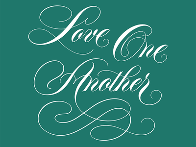 Love One Another - Spencerian Lettering Art illustrator calligraphy and lettering artist love one another love black history month sticker design card design lettering art flourishing flourishes script lettering spencerian lettering ornamental ornamental script calligrapher calligraphy lettering artist handlettering lettering