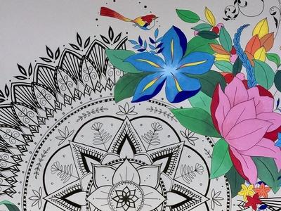 Mandala + Modern Florals Mural
