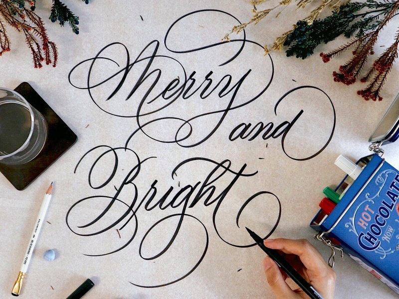 Merry & Bright | Brushlettering christmas styling calligraphy design calligraphy artist calligraphy and lettering artist brush and ink brush merry and bright calligrapher brush lettering brush calligraphy calligraphy brushlettering