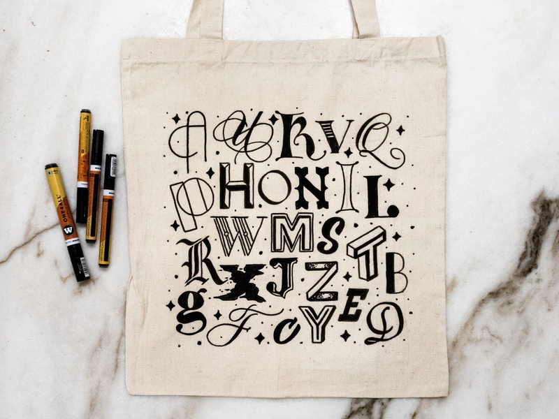 Drawing A to Z Handlettering on Tote Bag molotow acrylics sketch pen and ink inking 36 days of type 26 letters lettering art lettering artist art tote bag calligraphy design type goodtype lettering handlettering typography embellishments illustration tote bag lettering