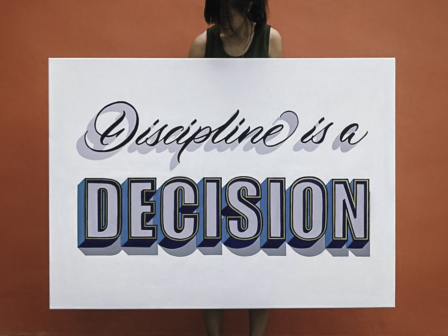 Discipline is a Decision - Custom Lettering Canvas canvas art signpainting art calligraphy and lettering artist lettering art brushlettering painting 3d type lettering artist brush calligraphy mural design graphics handlettering calligraphy type illustration typography lettering