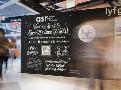 Hand Lettered Wall Mural - Lyf Ascott @ Funan SG