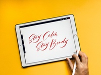 Stay Calm Stay Bendy - iPad Lettering (Mural Design Sketch)