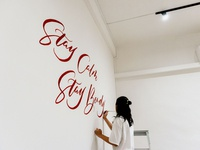 """Stay Calm Stay Bendy"" Calligraphy Wall Mural"