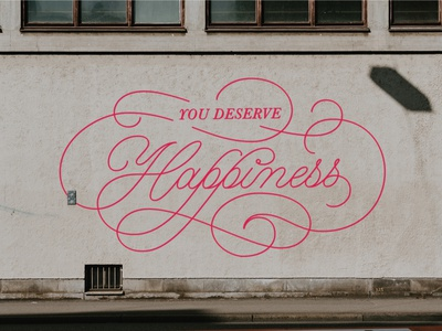 You Deserve Happiness (Mural mock up) mural design inspirational quote mental health street art wall art typography muralist letteringmuralist muralist muralart happiness lettering artist lettering art graphics design type handlettering calligraphy illustration typography lettering
