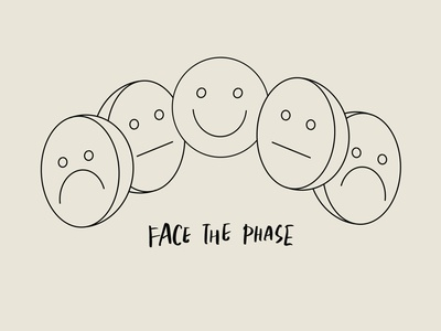 Face The Phase - Face Illustration ink illustration design mental health smiley face faces monoline art tattoo art face illustration singapore lettering artist lettering art graphics design type calligraphy lettering typography illustration
