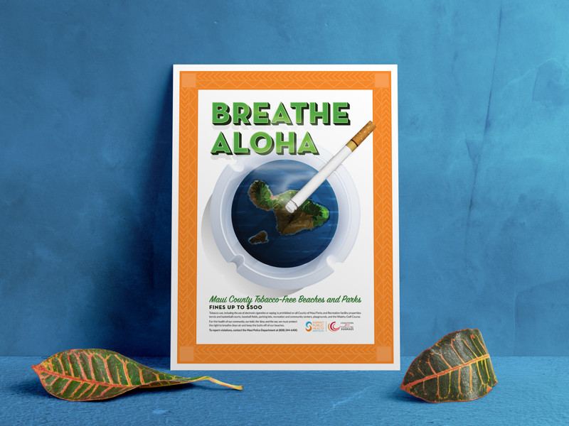 Breathe Aloha: Maui County Tobacco-Free Beaches and Parks psa public service announcement illustrator poster illustration catchafire nonprofit hawaii