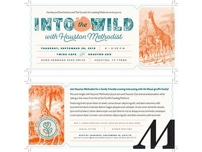 Into the Wild Invitation grid clean zoo giraffe invitation graphic design texas houston houston zoo