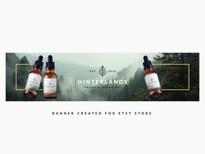 Etsy Store Banner - Hinterlands Beard Oil leaf logo forest logo nature logo beard balm oil bottle mockup typography logo packaging shop banner forest nature bottle design label design brand identity branding beard logo beard oil beard