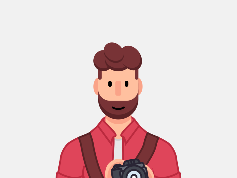 Summer Photographer branding flat cartoon drawing person people icon camera illustration vector illustration photographer beard character design character