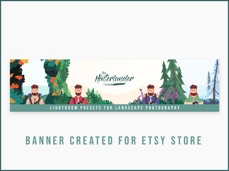 The Hinterlander - Etsy Banner explorer adventure lightroom presets lightroom mobile lightroom instagram etsy etsy shop winter jungle forest illustration vector banner camera logo character minimalist minimal photography camera