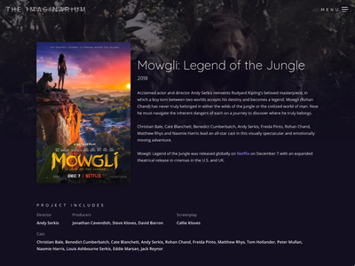 The Imaginarium - Production Company Project Page poster movie portfolio project 52 animation website tv film mowgli ux ui web design web andy serkis