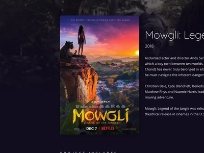 Project Poster Hover production company imaginarium mowgli poster movie film hover website interaction design animation web design web ui card andy serkis