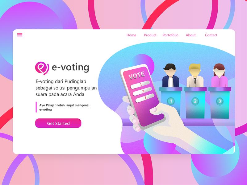 Landing Page E-Voting inventions invent invention gradient voting web ux branding logo design illustration website uiinspiration promotion landingpage inspiration app ui interface