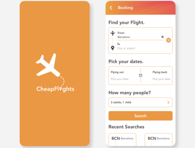 CheapFlights flight search UI