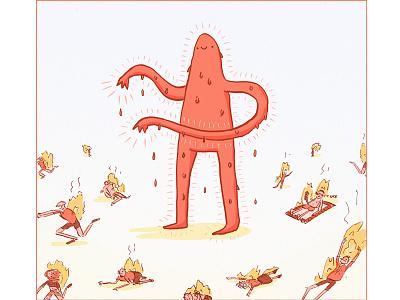 The Infamous Heatmonster cute sommer heat strange ink monster character photoshop brush illustration
