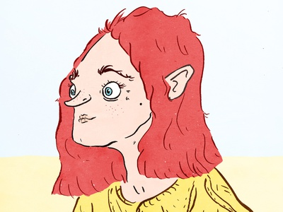 Woman With Red Hair yellow red women girl woman drawing ink face character brush photoshop illustration