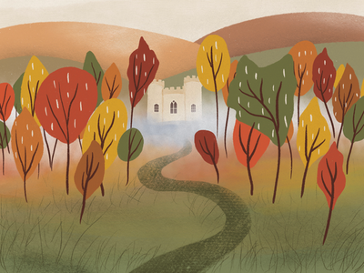 an autumn tale forest autumn nature design nature landscape illustration landscape design landscape drawing digital drawing digital illustration art digital art illustration artist illustration