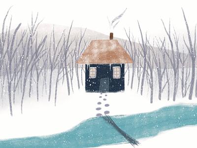 cabin by the river north cold snow winter nature design nature landscape illustration landscape design landscape drawing digital drawing digital illustration art digital art illustration artist illustration