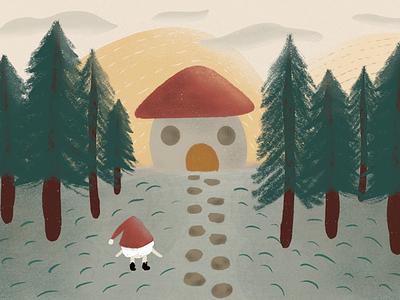 a gnome's day fantastic cottage nature design nature landscape illustration landscape design landscape drawing digital drawing digital illustration art digital art illustration artist illustration