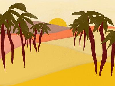 dry hot summer palms drought sunset sun nature design nature landscape illustration landscape design landscape drawing digital drawing digital illustration art digital art illustration artist illustration