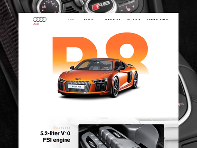 R8 Website Concept ui modern clean white website car audi r8