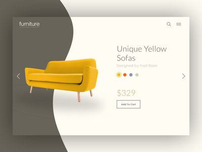 Furniture Product Page design product page concept clean ui yellow sofa furniture