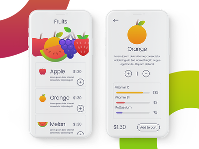 Fruits Ordering App icons clean white iphone x design ui app fruits