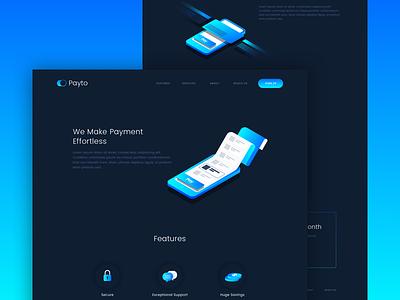 Payment App Landing dark phone illustration landing page website design ui app payment