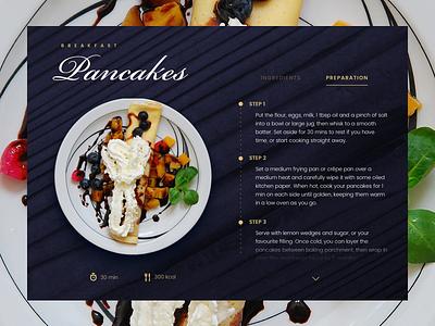 Pancakes Recipe modern dark design preparation calories recipe ui food pancakes